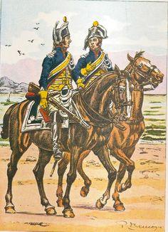 French; Imperial Guard, Gendarme d'Elite, Brigadier & Gendarme á cheval, Mounted Patrol of the Camp de Boulogne, 1804