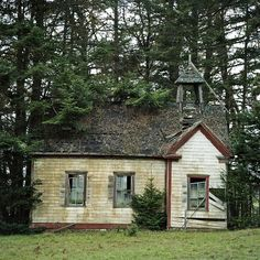 This just has to be the schoolhouse on Highway 1, near Stewart's Point, in  Mendocino County, California.
