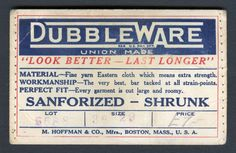 Union-Made: 1930s Dubble Ware Waistband Patch