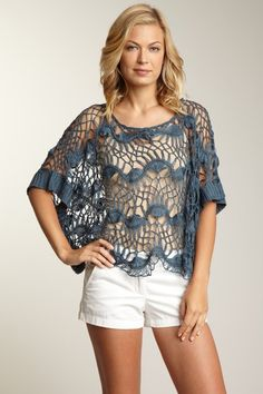 off knitted poncho top