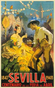 Unknown, Sevilla on ArtStack Spanish Girls, Centenario, Vintage Travel Posters, Retro Posters, American Artists, Vintage Advertisements, Vintage Images, 5 D, Just For You