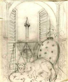 Léonard Tsugouharu Foujita sketch, 1951 (via: harajuku.areablog)