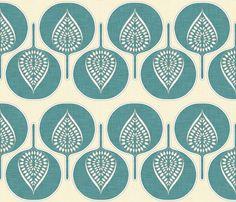 tree_hearts_marine and cream fabric by holli_zollinger on Spoonflower - custom fabric