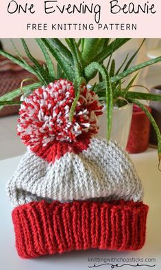 Only one evening to knit a hat? Not a problem with this free and easy knitting hat pattern. The one evening beanie is a knitting hat for woman with optional pompom. Use 2 contrasting colors for a bit more personaliy. Check out the free knitting pattern here. Beanie Knitting Patterns Free, Knit Patterns, Knit Hat Pattern Easy, All Free Knitting, Easy Knit Hat, Beanie Pattern Free, Sock Knitting, Knit Beanie Hat, Vintage Knitting