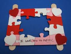 """popsicle stick frame-- """"I love you to pieces!""""  gift for parents"""