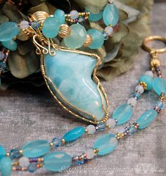 Genuine Larimar AAA Necklace Earrings Set 14K GF Calcedony Blue Quartz Fine Jewelry One of a Kind Cool Blue Waters Jewelry Set