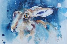 Moon Hare – watercolours by rachel Learn Watercolor Painting, Watercolor Paintings Of Animals, Watercolor Painting Techniques, Cow Painting, Abstract Watercolor, Original Paintings, Digital Painting Tutorials, Art Tutorials, White Ducks