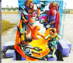 "#3D by #adrydelrocio & #carlosalberto_gh ""Aworld to fit all worlds"" #chalkart #chlaks  #chalkfestival #venice #florida 2016"