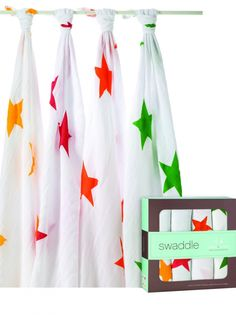 Colourful Super Stars muslin swaddles from Aden and Anais, perfect for the summer newborn