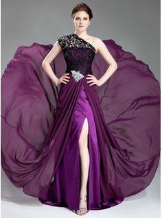 Forme Princesse Encolure asymétrique Traîne courte Mousseline Dentelle Robe de soirée avec Emperler Fendue devant