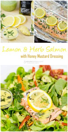 Lemon and Herb Salmon with Honey Mustard Dressing