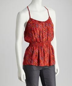 Take a look at this Red Floral T-Back Tank by Grayson on #zulily today!