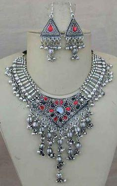 Tribal BellyDance Costume Jewelry Necklace Earring Gypsy Boho Hippy Kuchi Gothic   eBay