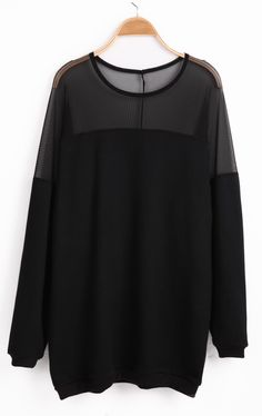Black Long Sleeve Contrast Mesh Yoke Loose Sweatshirt
