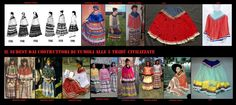Al contatto dei coloni euroamericani tessuti e usi europei hanno influito sull'abbigliamento. Qui vi è rappresentata l'evoluzione dell'abbigliamento femminile Seminole tra il 1930 e il 1990.