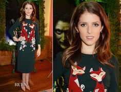 ✶Anna Kendrick attended a special screening of 'Into the Woods' held at The Soho Hotel on 11 December 2014  in London, ENGLAND. She embraces a woodland forest theme for her red carpet appearance donning a forest-green Dolce & Gabbana Fall 2014 dress with fascinating fox embroidery which she styled with simple nude pumps. It's a thoroughly charming look and we are loving the themed outfit. ✶