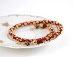 Red and Gold  Bead Crochet Necklace  Christmas by LeeMarina