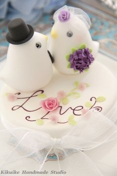 LOVE ANGELS Wedding Cake Topper-love bird with hand painted base