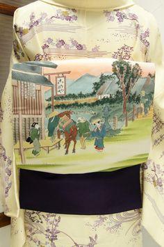 歌川広重の東海道五十三次の「戸塚」を写しとった遊び心をさそう染名古屋帯です。