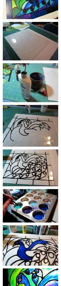 Faux stained glass created from acrylic paint and school glue!