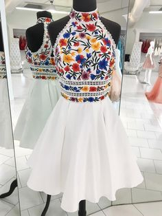 Charming High Neck Halter Embroidery White Short Prom Dress Homecoming Dresses Party Gowns · Starry Girl Dress · Online Store Powered by Storenvy Dama Dresses, Quince Dresses, 15 Dresses, Pretty Dresses, Fashion Dresses, Formal Dresses, Casual Dresses, Elegant Dresses, Dresses Dresses