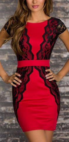 Love the lace and bold color. I'd definitely need it to be longer but soooo cute!