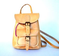 Petite Nude Leather Backpack by TheSquareMoon on Etsy, €62.00