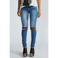 Boohoo Izzie Open Knee Skinny Rigid Jeans ($35) ❤ liked on Polyvore