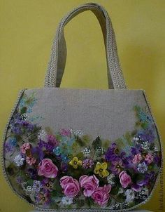 Wonderful Ribbon Embroidery Flowers by Hand Ideas. Enchanting Ribbon Embroidery Flowers by Hand Ideas. Embroidery Purse, Silk Ribbon Embroidery, Embroidery Stitches, Embroidery Designs, Flower Bag, Brazilian Embroidery, Unique Purses, Ribbon Art, Handmade Bags