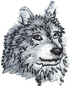 """Amazon.com: [Single Count] Custom and Unique (1 3/4"""" by 2"""" Inches) Sacred Wild Animal Wolf Head Iron On Embroidered Applique Patch {Grey, White, and Black Colors}"""