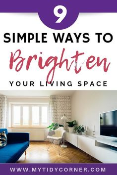 These simple tips can help brighten a dark room with just a few easy changes. You'll love the new look and feel once you give these a try! It's not hard to add natural light or to use objects to help! These simple ideas are ones anyone can do. Dark Living Rooms, Living Spaces, Small Living, Living Area, White Ceiling Paint, Bright Floor Lamp, Swing Arm Wall Light, Dark Furniture, Inexpensive Home Decor