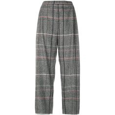 Stephan Schneider plaid cropped trousers (€360) ❤ liked on Polyvore featuring pants, capris, grey, grey plaid pants, plaid pants, cropped trousers, grey pants and tartan pants