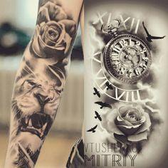 Clock Tattoo Sleeve, Clock And Rose Tattoo, Arm Sleeve Tattoos, Sleeve Tattoos For Women, Tattoo Sleeve Designs, Lion Leg Tattoo, Inner Bicep Tattoo, Lion Tattoo Sleeves, Tricep Tattoos