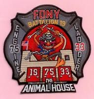 New York City Fire Dept Engine 75 Ladder 33 Battalion 19 Patch - Animal House