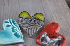 Small Heart, More Cute, 1 Piece, Jewelry Accessories, Pottery, Brooch, Valentines, Turquoise, Purple