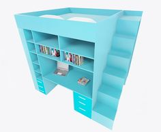 Multi purpose cube, bed,office,bookcase and wardrobe in one