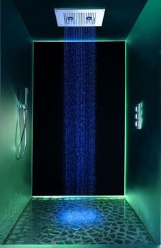 In the Signorini Shower head ultra slim metallic blocks, studded with rows of tiny nozzles, rain brilliant colored water. Two central lights illuminate the free flowing water in a warm yellow, passionate red, mellow blue or green earthy light. Perfect for creating a dramatic accent color, or merely for it's therapeutic effect the lighted shower head embraces contemporary style. Created by Signorini Design, the Ultra Slim shower head is available as both a ceiling-mounted and a…