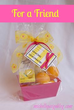 michelle paige: Cheer Up Gifts- Lemons to Lemonade and Sunshine Get Well Gift Baskets, Get Well Gifts, Candy Puns, Cheer Up Gifts, Box Of Sunshine, Lemonade, Party Planning, Crafts, Food