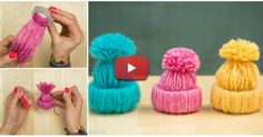 These little yarn hats are so adorable. They will look great on your Christmas tree or in your room. They are also very easy to make. What you need are Yarn Scissiors Ruler Pencil Step by step instructions from Handimania Christmas Hat, Diy Christmas Ornaments, Christmas Tree Decorations, Holiday Crafts, Diy Yarn Ornaments, Hat Crafts, Crafts To Make, Wooly Hats, Toilet Paper Roll Crafts