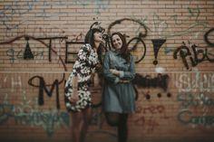 girls - couple - graffiti - wall - modern - hipster - laught