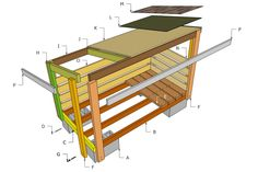 10X10 Shed Plans Blueprints Outdoor Firewood Rack, Firewood Shed, Firewood Storage, Wood Shed Plans, Free Shed Plans, Wood Storage Sheds, Storage Shed Plans, Storage Ideas, Build A Playhouse