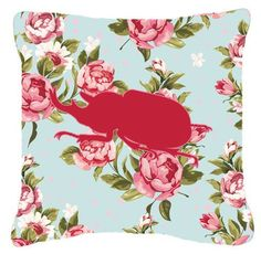 Beetle Shabby Elegance Blue Roses Indoor/Outdoor Throw Pillow