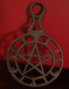 Kitchen Witchery:  Vintage Pentagram Pentacle Iron Griswold Trivet, for the #Kitchen #Witch.