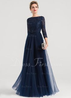 A-Line/Princess Scoop Neck Floor-Length Tulle Evening Dress With Beading - Evening Dresses - JJ's House