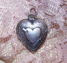 Vintage STERLING SILVER Puffy Heart Charm - Heart with Arrow!