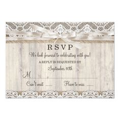 Lace Save the Date Wedding Rustic Vintage Lace & Wood Wedding RSVP Card