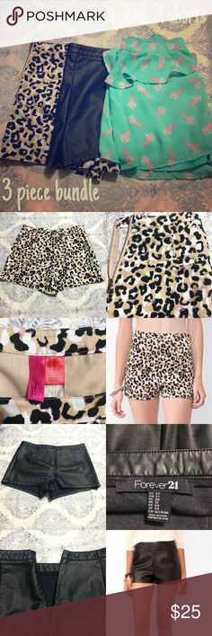 🎉SALE🎉Forever 21 shorts bundle Three pairs of forever 21 shorts. First pair is high waisted leopard print shorts in a light nude color with hints of neon purple and neon green; forever 21 exclusive brand size medium. Second pair is black leather like material. High waisted short shorts size 27; fit like the others. Third pair is real with pink and white ice cream sundaes. Size medium as well. Faint spot on back of one side. Last picture tried to show this. No trades 🅿️🅿️, or Ⓜ️ercari…