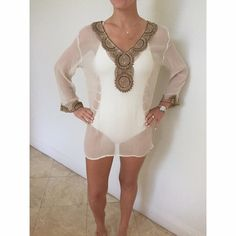 Ondande Mar Sheer Cover up Creme bathing suit cover up with gold detailing Other