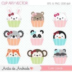 Cute Candy Digital Clipart - Candy puppies vector, pastel color, digital party supplies - C004
