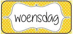 Woordkaarten om de dagen van de week en/of de agenda aan bord te visualiseren. © Sarah Verhoeven School Posters, Speech And Language, Labels, Classroom, Teacher, Kids, Calendar, Class Room, Young Children